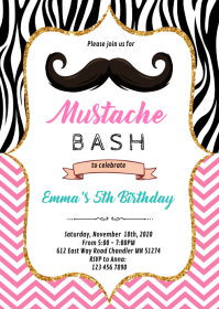 Pink mustache bash birthday party invitation