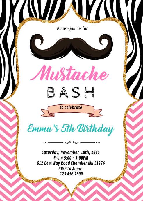 Pink mustache bash birthday party invitation