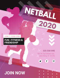 Pink Netball Game Day Flyer