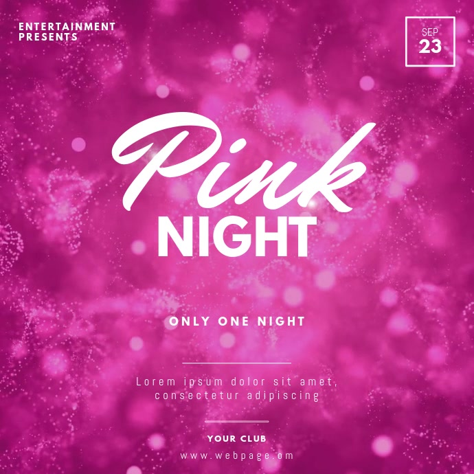 Pink Night Video Design Template Vierkant (1:1)