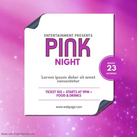Pink Night Video Design Template instagram