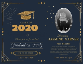Pink Online Grad Party Invite Flyer