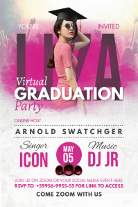 Pink Online Grad Party Invite Poster