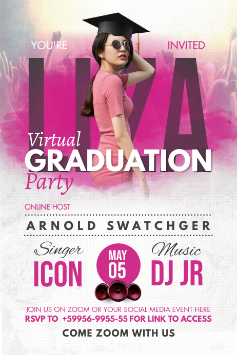 Pink Online Grad Party Invite Poster Póster template
