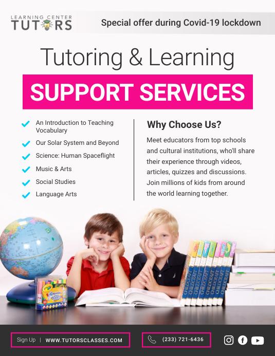 Pink Online Tutoring Services Flyer