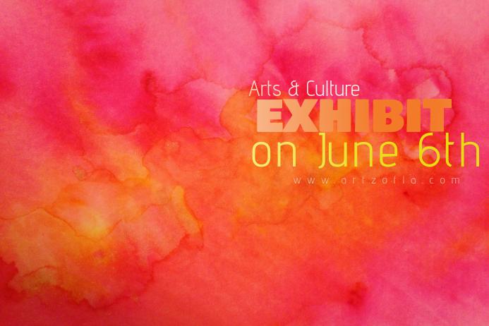 Pink Orange Color Paint Simple Modern Event Club Venue Art
