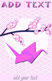 pink origami crane bird and cherry flowers on a branch
