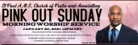 Pink out sunday church worship service Ibhana 2' × 6' template