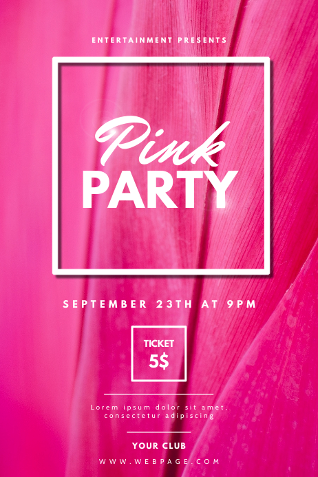 Pink Party Flyer Template
