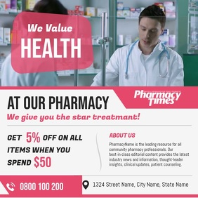 Pink Pharmacy Ad Square Video template