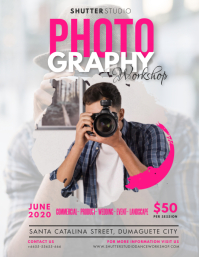 Pink Photography Classes Flyer Pamflet (VSA Brief) template