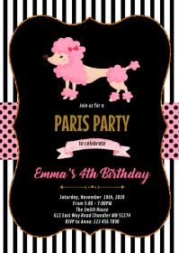 Pink poodle party invitation A6 template
