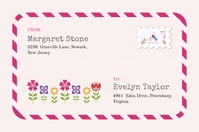 Pink Post Card Floral Shipping Label Template Étiquette