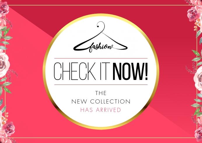 Pink Retail New Arrival Postcard Pocztówka template