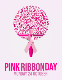 pink ribbon day poster template