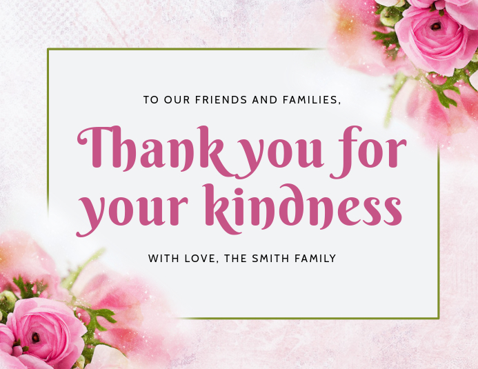 Pink Roses Thank You Card template