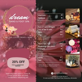 Pink Rosy Hand and Foot Spa Video Pos Instagram template