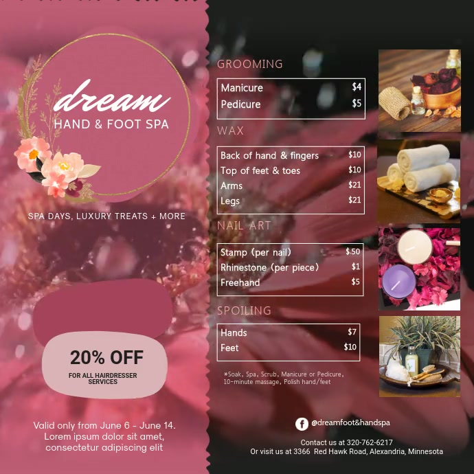 Pink Rosy Hand and Foot Spa Video Instagram 帖子 template
