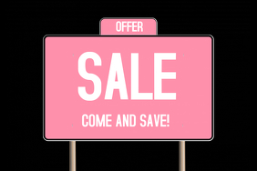 pink sale sign poster template