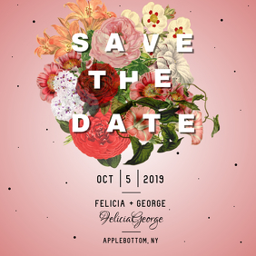Pink Save the Date Instagram Post