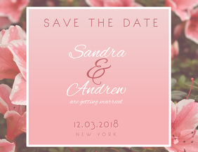 Pink Save the Date Postcard