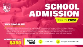 Pink School Admission Facebook Cover Video Facebook-omslagvideo (16:9) template