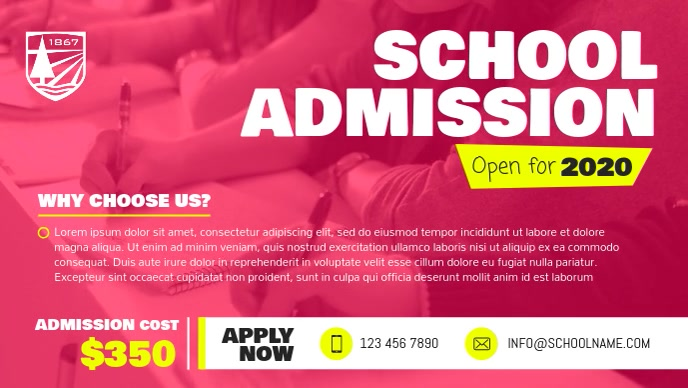 Pink School Admission Facebook Cover Video template
