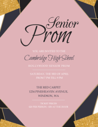 Pink Senior Prom Invitation Flyer template