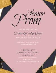Pink Senior Prom Invitation Flyer template