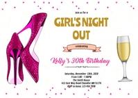 Pink shoe champagne bachelorette invitation A6 template