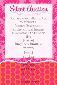 Pink silent Auction dinner reception fundraiser party invite