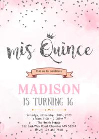 Pink silver mis quince confetti invitation