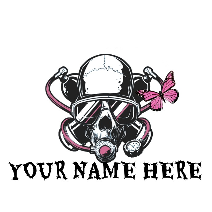 PINK SKULL GAS MASK LOGO template