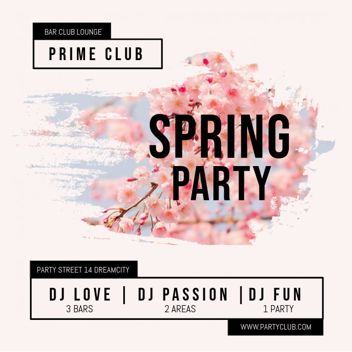 Pink Spring Party Invitation Design