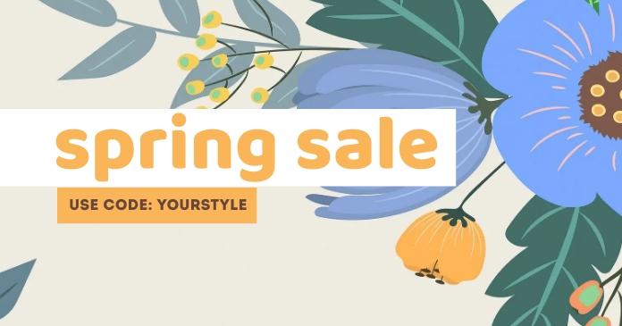 Orange Spring Sale Templates Gambar Bersama Facebook