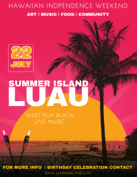 Pink Summer luau Party Template Flyer (US Letter)