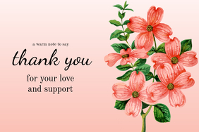 Pink Thank You Card Template
