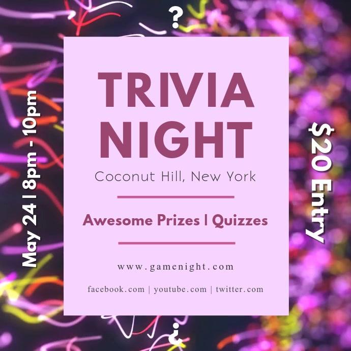 Pink Trivia Night Square Video
