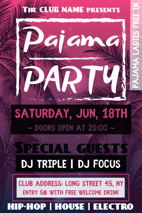 pink tropical pajama party poster template postermywall