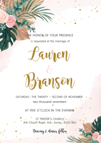 Pink tropical theme invitation A6 template
