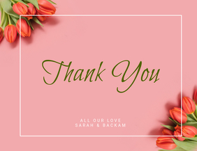 pink Tulip Thank You Card Template