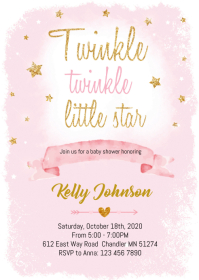 Pink Twinkle baby shower party invitation