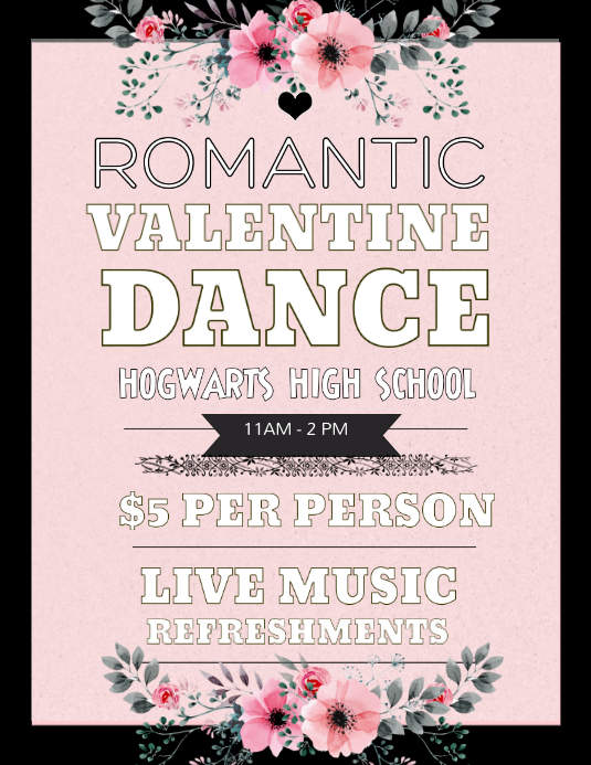 Pink Typographic Valentines Party Flyer Template