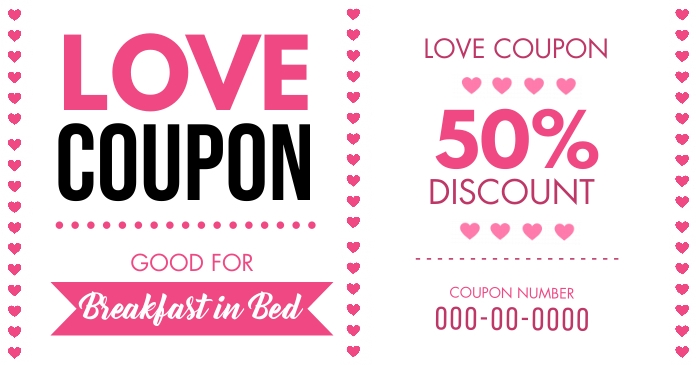 Pink Valentine's Love Coupon Facebook Post Te template