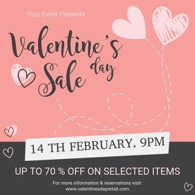 Pink Valentine's Sale Store Advert Instagram na Post template
