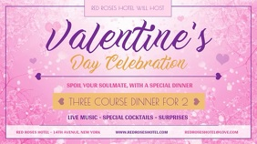 Pink Valentine Dinner Digital Display Video