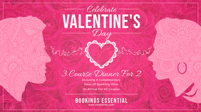 Pink Valentine Dinner Landscape Digital Display Image