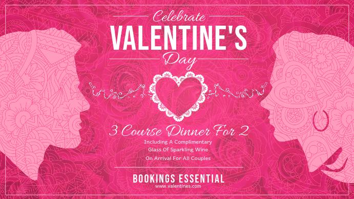Pink Valentine Dinner Landscape Digital Display Image