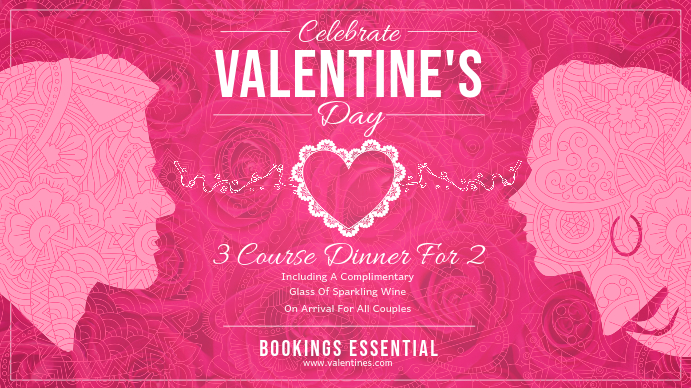 Pink Valentine Dinner Landscape Digital Display Image Ekran reklamowy (16:9) template