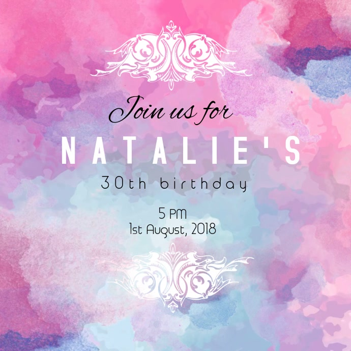 pink watercolor birthday template postermywall